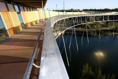The Brickpit Ring Walk at Sydney Olympic Park, Australia (2005); an elevated circular walkway that allows visitors to access and view the Brickpit from above while preserving the fragile habitat of the endangered Green and Golden Bell frog; it is 1,804 feet in circumference and is raised 61 feet above the floor of the Brickpit; photo fromDurbach Block Architects