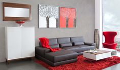Salón colección Viena. www.actuadecor.com Grey And Red Living Room, Living Room Turquoise, New Living Room, Living Room Modern, Living Room Designs, Sitting Room Decor, Condo Decorating, Living Room Inspiration, Home Interior Design