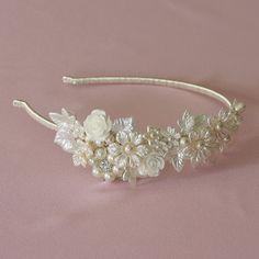 ROSIE Wedding side tiara, SWAROVSKI crystal tiara, Bridal tiara, Vintage tiara, Handmade tiara, Pearl Tiara, Flower tiara