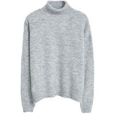 Mango Stand Collar Jumper, Light Pastel Grey (2,430 PHP) ❤ liked on Polyvore featuring tops, sweaters, jumpers, shirts, long sleeve tops, long sleeve sweaters, gray turtleneck sweater, grey turtleneck sweater and gray turtleneck