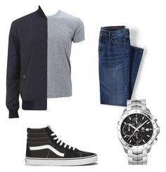 """Men's casual day"" by alyssachen888 on Polyvore featuring Lands' End, Versace, TAG Heuer, Vans, men's fashion and menswear"