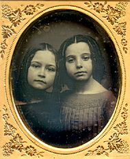 Jane and Mary Perkins of Worcester, Massachusetts, Sixth plate daguerreotype by Charles R. B. Claflin, 1856, Collection of Gary W. Ewer, Copyright 2008