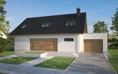 Projekt TJP-198: to dwulokalowy dom jednorodzinny parterowy z poddaszem użytkowym i garażem jednostanowiskowym. Wyjątkowo energooszczędny- doskonale ocieplony i z rekuperacją.