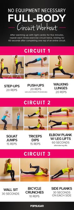 Printable Total-Body No-Equipment Workout | POPSUGAR Fitness #CircuitWorkouts