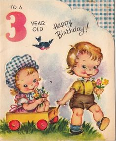 Vintage Greeting Card Children Boy Girl Age 3 Three Year Old
