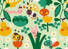 rouleau de papier peint intissé 'dans le jardin' (3x3m) BORA | shop pour enfants Le Petit Zèbre