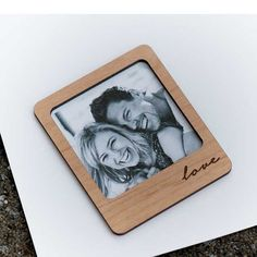 Polaroid Style Love Frame Magnet - Laser cut and Etched on Wood