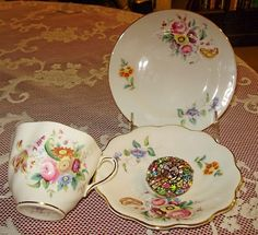 Coalport Junetime teacup and saucer - I love these frilly, summery flowers for breakfast :-) So light, happy patterns