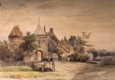 Aquarel, voorstellende de Fabriekspoort te Culemborg, vervaardigd door C. Springer, 1864