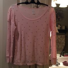 Size -L -Pink Thermal Shirt Soft and light with small puffs on sleeves.  Pink with black dots in fabric.  100 percent cotton. Tops Tees - Long Sleeve