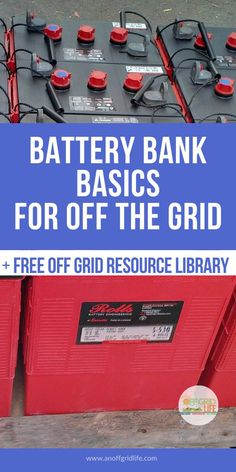 alternative energy Learn about batteries for living off the grid including battery bank basics and a real world example of how our off grid battery bank system is configured. An Off Grid Life Solar Projects, Energy Projects, Diy Solar, Survival Prepping, Survival Skills, Survival Shelter, Homestead Survival, Emergency Preparedness, Off Grid Survival