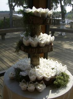 Rustic Cupcake Stand Perfect For Shabby Chic Outdoor Weddings Next To Some Beautiful Southern Oaks