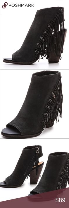 Dolce Vita Noralee Nubuck Ankle Boot. How can you say no to the trendy Noralee? Keeping you right on trend ! This Dolce Vita bootie features a super soft black nubuck leather with a waterfall of fringe. Chains add edge to this 4 1/4 inch block heel look.brand new in original box & packaging . Everyone loved them these are Sold out everywhere. Leather Upper. Offers welcome , bundle & save even more. No trades. Dolce Vita Shoes Ankle Boots & Booties