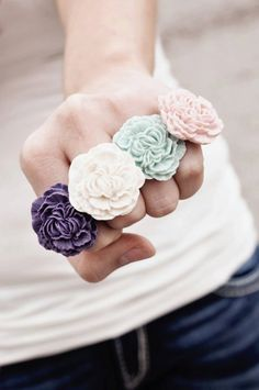 Cute for an extra Bridesmaid gift!  Pom Pom Ring by erinkeys on Etsy, $7.00