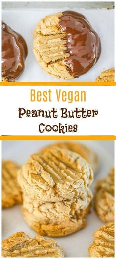Easy Vegan Peanut Butter Cookies - You won't be able to resist these soft Vegan Peanut Butter Cookies! They are not only thick and chewy delicious, they're also packed full of peanut butter flavor! #peanutbuttercookies #veganpeanutbuttercookies #vegandesserts #holidaycookies #vegancookies Vegan Dessert Recipes, Vegan Snacks, Cookie Recipes, Vegan Foods, Vegan Sweets, Baking Recipes, Vegan Peanut Butter Cookies, Vegan Comfort Food, Just Bake