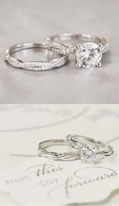 Love the timeless, unique feel of these vintage rings. #beautifulweddingringsjewelry #weddingring