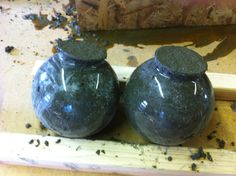 Hypertufa spheres. . . Hypertufa: Creating Column Caps for the Garden - Le Poule Roost Blog