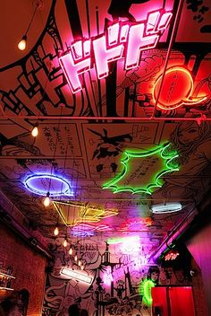 Neon Manga ceiling at Tokyo Bar in NYC