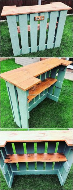 Top 25 New and Awesome DIY Wood Pallet Projects 2019 This is one of the creative uses of the wood shipping pallets for your bar counter framing designing purposes. This set of framing is included with the wood effect of the design with the blend artistic Diy Wood Pallet, Wooden Pallet Projects, Wooden Pallets, Wooden Diy, Pallet Couch, Diy Projects With Pallets, Diy With Pallets, Diy Outdoor Wood Projects, Garden Pallet