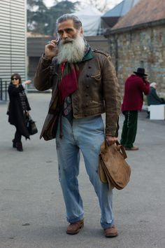 That face and beard. Incredible vintage mix on the first day of #PittiUomo #Pitti. Subscribers should click here for more street shots live from the show. WGSN street shot, Pitti Uomo