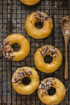 caramelized white chocolate doughnuts