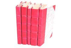 S/5 Parchment Covered Books, Fuchsia on OneKingsLane.com