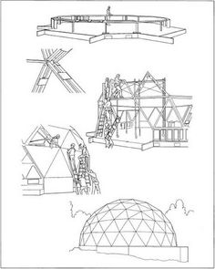 Building a geodesic dome.