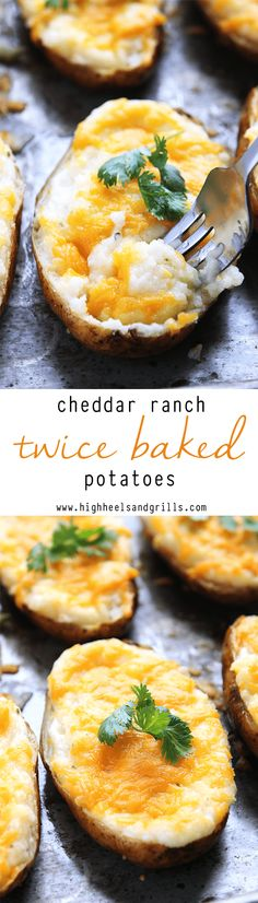 These Cheddar Ranch Twice Baked Potatoes are the only potato recipe you will ever need. They're like a mix between a baked potato, mashed potatoes, and cheesy potatoes with a delicious ranch taste!: (Twice Baking Potato) Twice Baked Potatoes, Cheesy Potatoes, Mashed Potatoes, Cheddar Potatoes, Potato Dishes, Potato Recipes, Great Recipes, Favorite Recipes, Yummy Recipes