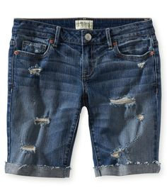Destroyed Medium Wash Denim Bermuda Shorts - Aeropostale