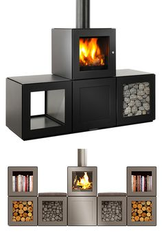 SPEETBOX Wood Stove System by Philippe -- Designer Philippe Starck does things his way. The latest example is the SPEETBOX wood stove system that consists of modular cubes that can be stacked & arranged to best fit your space & style. Once you configure the fire & electronic module, the rest of the design is up to you & includes seating & storage. In addition to its good looks, it's a highly efficient heating system.