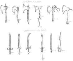 Weapons by the Races by juusu-chan.deviantart.com on @DeviantArt
