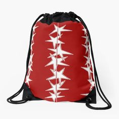 """""""Strings of Stars - Red and White"""" Drawstring Bag by LAEC-Shop 