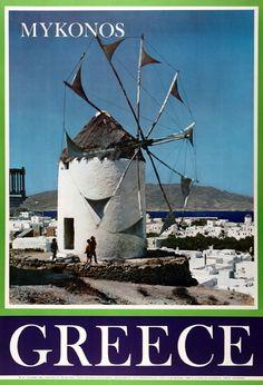TRAVEL'IN GREECE I G.N.T.O. vintage poster - #Mykonos, #Greece