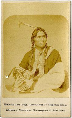 Kish-ke-taw-wag (aka The Cut Ear) - Ojibwa - 1868