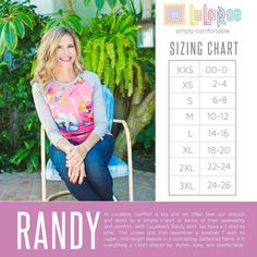 LuLaRoe Randy T sizing chart Lularoe Size Chart, Randy Lularoe Sizing, Lularoe Randy Tee, Thing 1, Lula Roe Outfits, Knit Shirt, Fabric Patterns, Style Guides, Tees