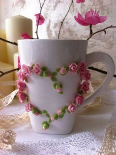 Цветы на кружке. Polymer