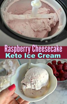 This Raspberry Cheesecake Keto Ice Cream is to Die For! Enjoy a sweet treat with this rich and creamy raspberry cheesecake keto ice cream! It's an easy, delicious dessert that rivals any store brand. Keto Desserts, Keto Friendly Desserts, Delicious Desserts, Dessert Recipes, Keto Recipes, Quick Recipes, Diabetic Recipes, Healthy Recipes, Keto Friendly Ice Cream