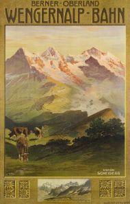 Beautiful Vintage Swiss Travel Poster, 1910 by Anton Reckziegal