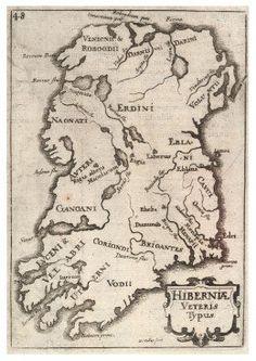 Medieval  map of Ireland, showing Irish tribes.