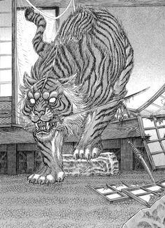 "Demon Tiger from the manga ""Shigurui"" Seriously badass! Sun Illustration, Illustrations, Japanese Tiger Tattoo, Tiger Sketch, Sun Ken Rock, Creepy Cat, Japanese Artwork, Great Works Of Art, Anime Animals"