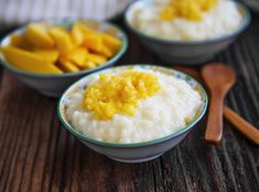 rice milk pudding with mango jam in bowls with wooden spoons homemade Tapas, Mango Jam, Hungarian Recipes, Hungarian Food, Rice Milk, Wooden Spoons, Chia Seeds, Healthy Habits, Cake Cookies