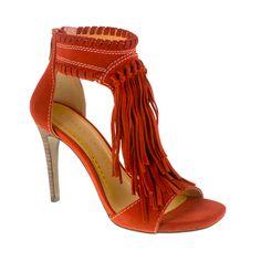 Santa Fe Fringe T- Strap Sandal Rust
