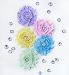 Baby Shower Gift Set...Shabby Chic Flower Headband Set - The Perfect Pastel Collection - 5 Pack Headband Lot - Made to Order. $15.00, via Etsy.