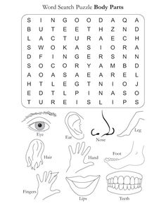 Word Search Puzzle Body Parts. This site has different themed word search puzzles. English Worksheets For Kids, English Lessons For Kids, Kids English, English Activities, Learn English, Spanish Lessons, Learn French, French Lessons, Free Word Search Puzzles