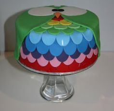 Owl Cake of the Day....rainbow!