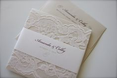 Beautiful Simple Lace Wedding Invitation in Maroon, Champagne & Ivory by madisonjennifer on Etsy https://www.etsy.com/listing/206971865/beautiful-simple-lace-wedding-invitation