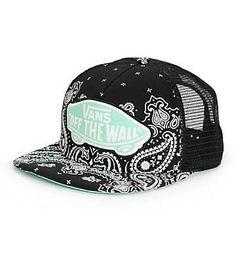 Vans Beach Girl Black Bandana Trucker Hat