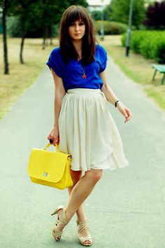 great for summer - blue blouse / orange-red pendant necklace / yellow bag / ivory skirt / nude heels
