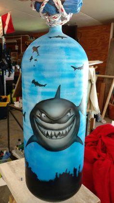 Scuba tank art - my shark tank