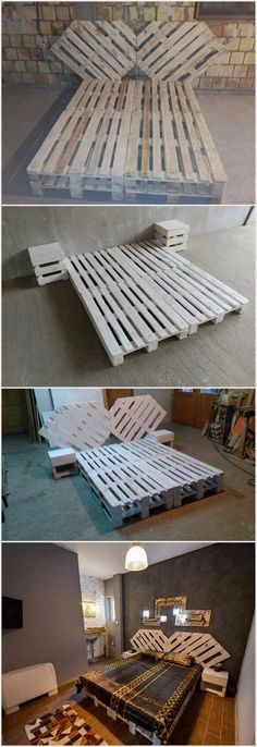 Some Cool Projects to Try with Used Wood Pallets Wood Pallet Bed with Unique Style Headboard The post Some Cool Projects to Try with Used Wood Pallets appeared first on Pallet Diy. Pallet Bed Frames, Diy Pallet Bed, Wooden Pallet Furniture, Diy Pallet Projects, Wooden Pallets, Diy Furniture, Headboard Pallet, Outdoor Pallet, Pallet Ideas